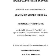 Komemoracija za akademika Nenada Vekarića